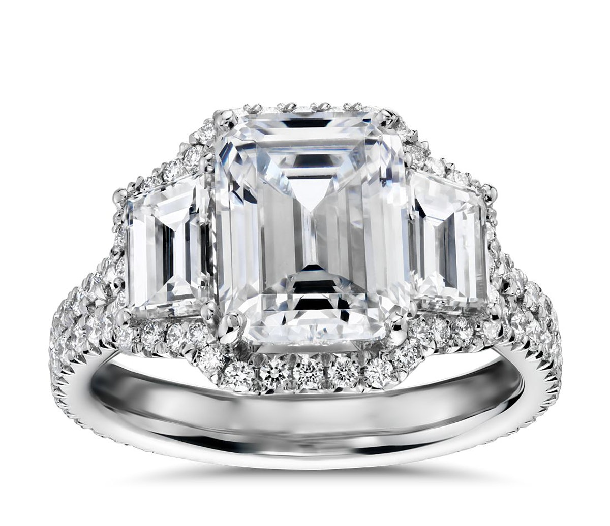 The Gallery Collection Emerald Three Stone Halo Diamond Engagement Ring