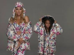 """Blue Ivy Carter models in her mother's """"Icy Park"""" campaign."""
