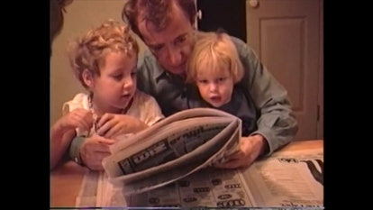 A childhood photo of Woody Allen with Dylan and Ronan Farrow from HBO's 'Allen v. Farrow' via the WarnerMedia press site