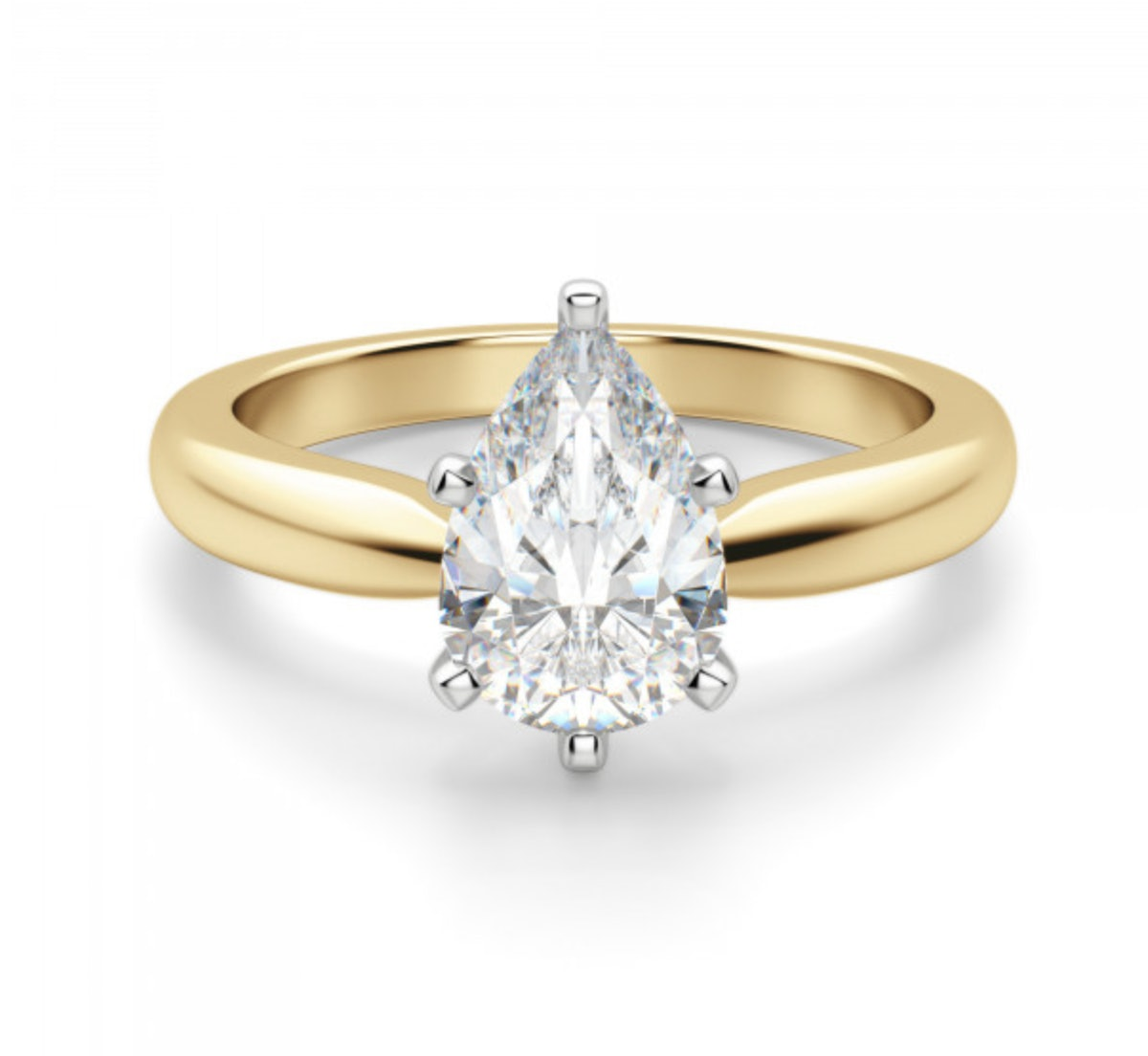 Tiffany-Style Solitaire Pear Cut Engagement Ring