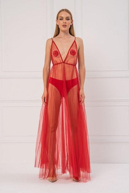 Kikiriki Sheer Maxi Red Dress