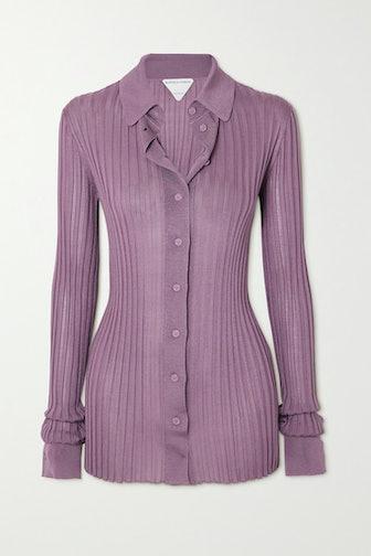 Ribbed Silk Shirt