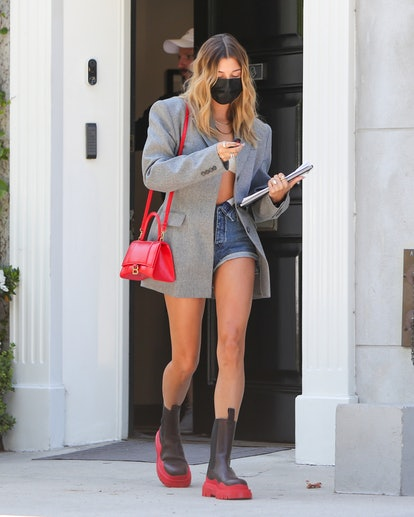 Hailey Bieber seen leaving a meeting on August 26, 2020 in Los Angeles, California.