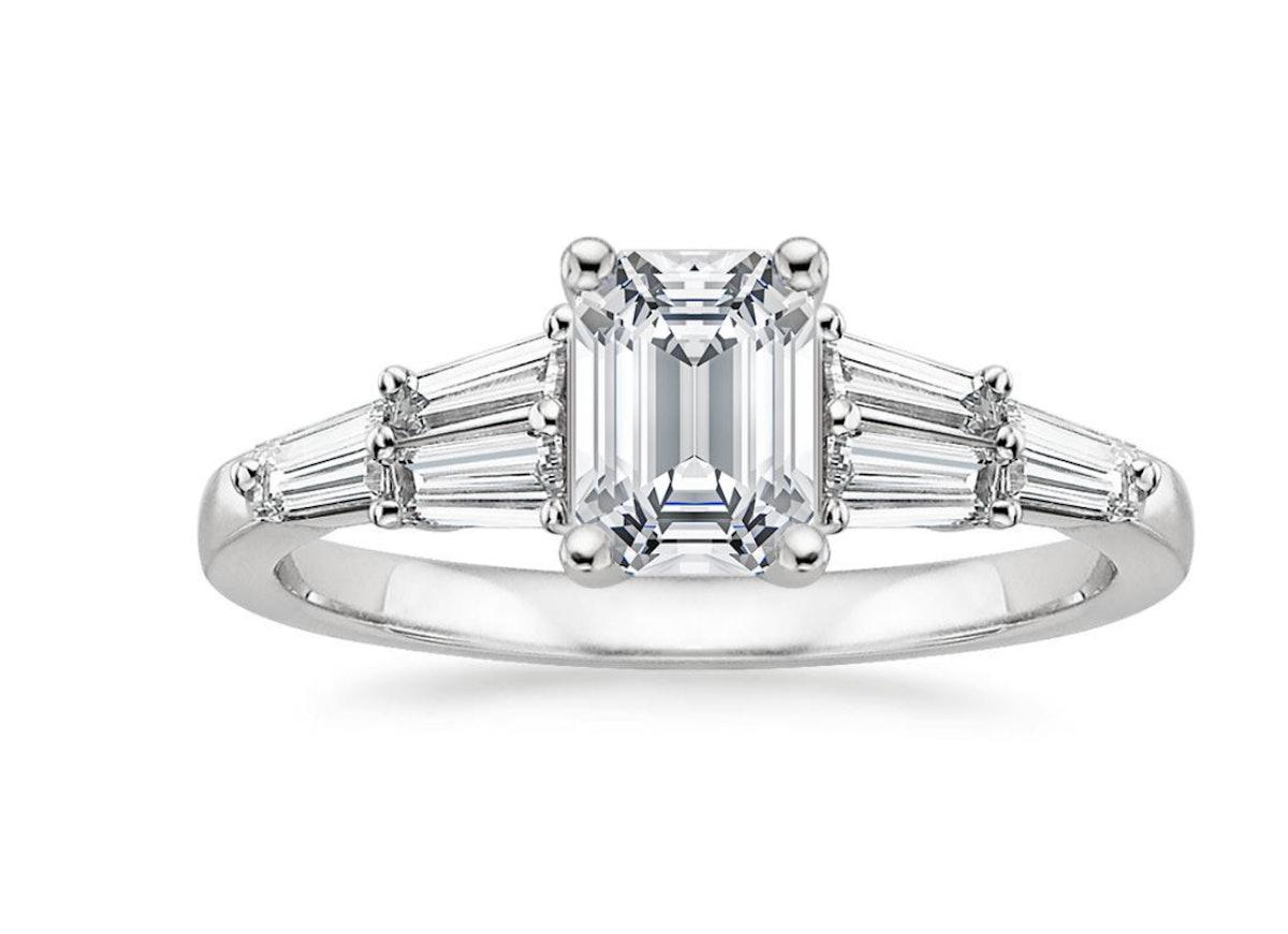 Harlow Diamond Engagement Ring With 0.75 Carat Emerald Diamond