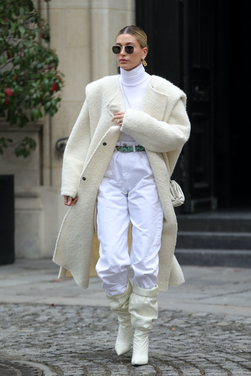 Hailey Bieber is seen leaving a restaurant on February 27, 2020 in Paris, France.