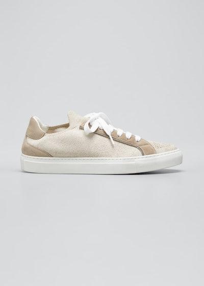 Metallic Knit Low-Top Tennis Sneakers