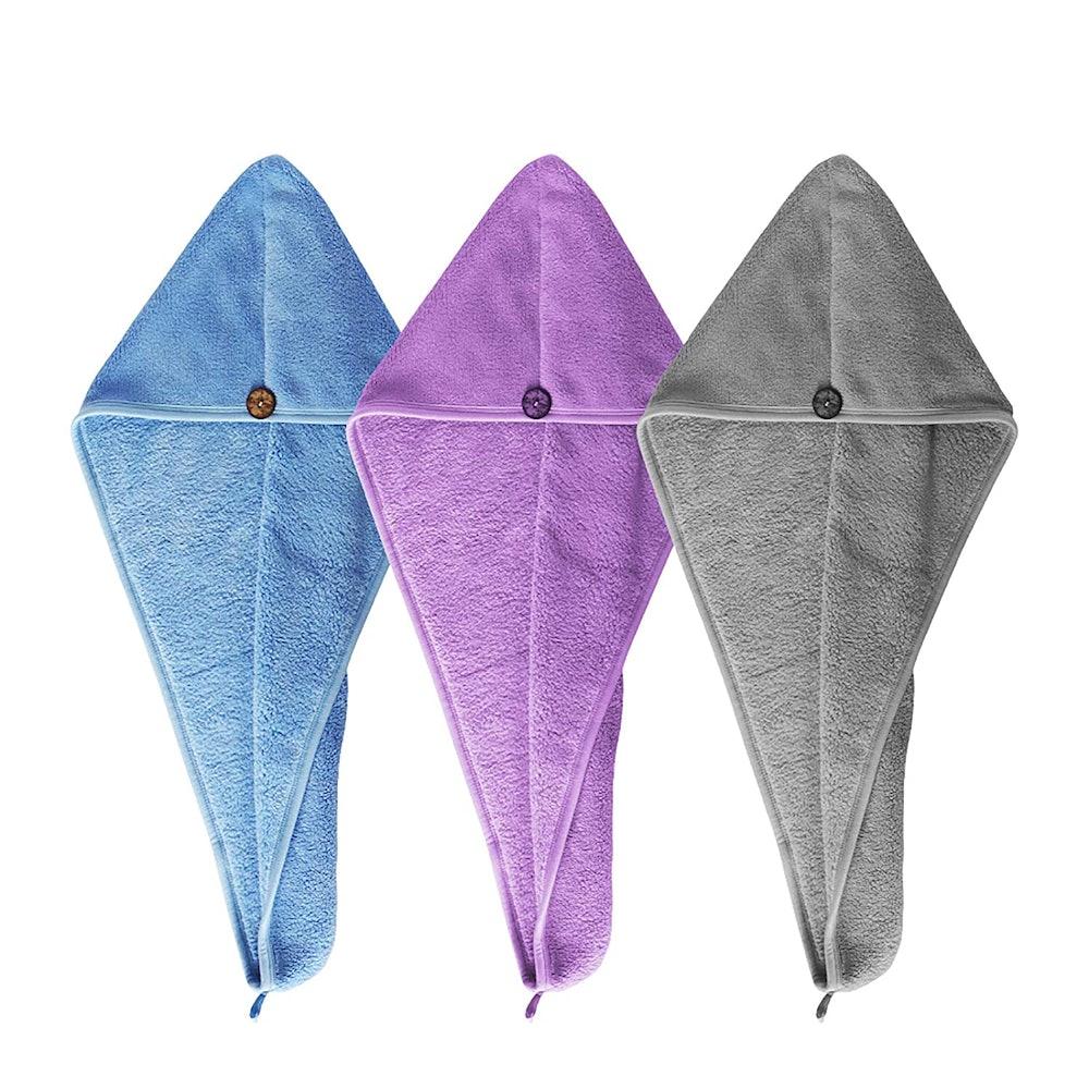 HWASHIN Microfiber Hair Towel Wrap (3-Pack)