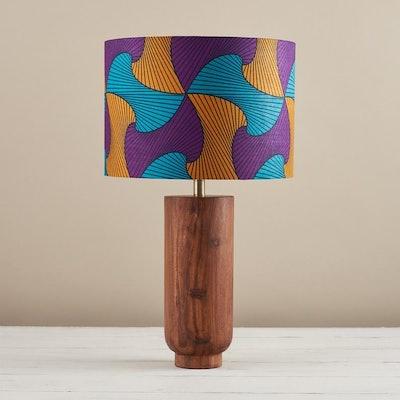 African wax print drum lampshade - Purple yellow waves