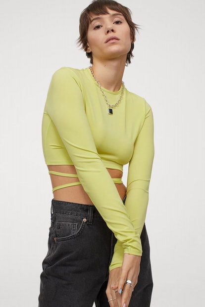 H&M Cropped, Fitted Top in Jersey with Narrow Ties to Fasten Around Waist