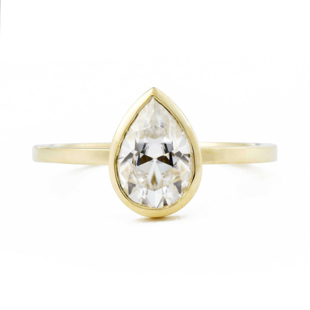 Aura Pear Bezel 1.5ct Diamond Engagement Ring