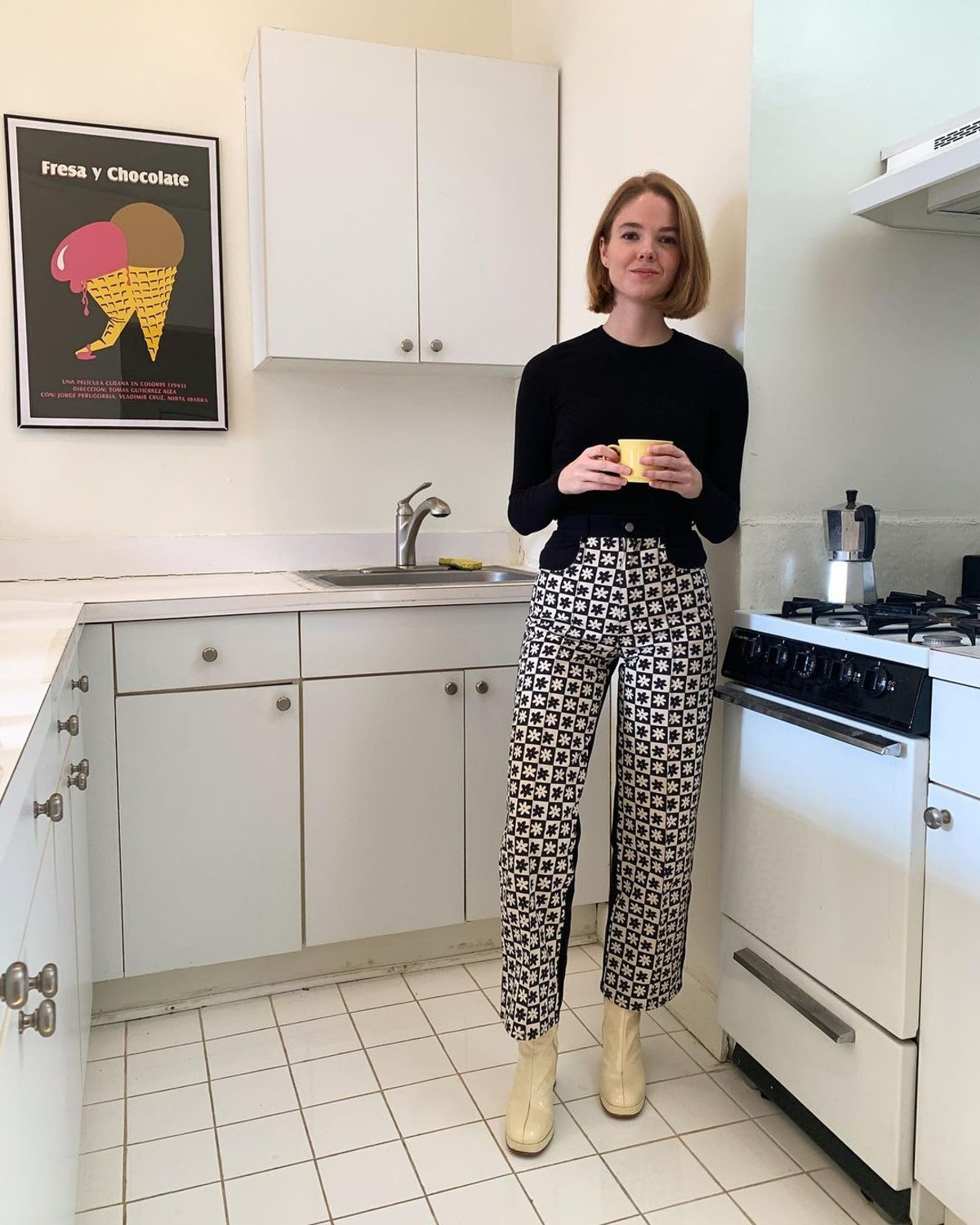 Floral checkerboard pants