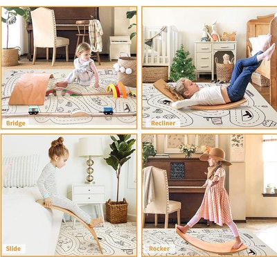 HAN-MM Wooden Wobble Balance Board with Play Mat