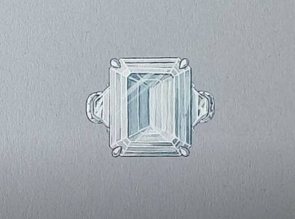 A screenshot from Paris Hilton's YouTube Channel of her 2021 engagement ring designed by Jean Dousset.