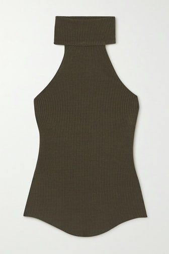 Alloy Ribbed Stretch-Knit Turtleneck Top