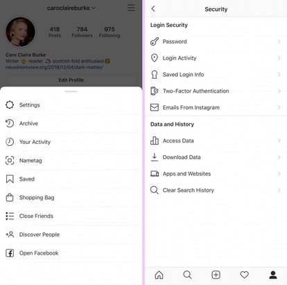 Screenshots showing how to clear your Instagram search history.