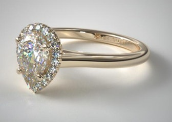 14K Yellow Gold Pave Halo Diamond Engagement Ring