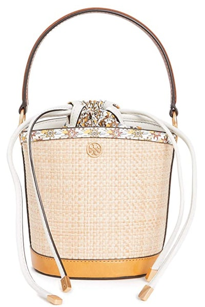 Tory Burch Robinson Straw Mini Bucket Bag