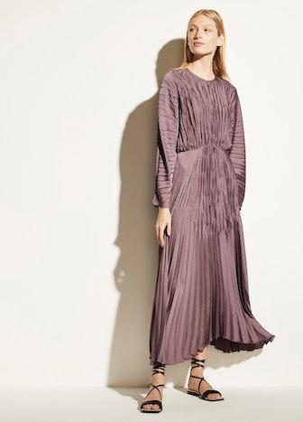 Pleated Dolman Sleeve Dress