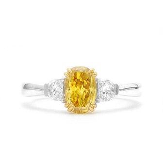Fancy Deep Orangy Yellow Diamond Ring