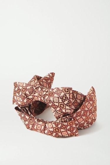 Bow-Detailed Metallic Jacquard Headband