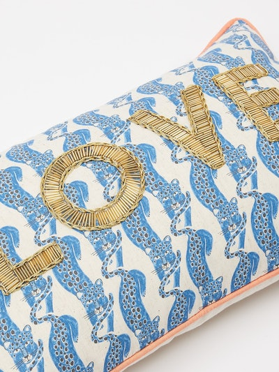 Love Beaded Blue Leopard Cushion