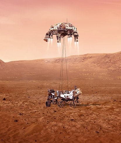 An animated illustration of the Perseverance rover being lowered down onto the surface of Mars throu...