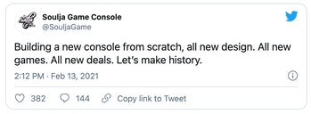 Tweet from Soulja Game Console announcing the ongoing creation of a new console.