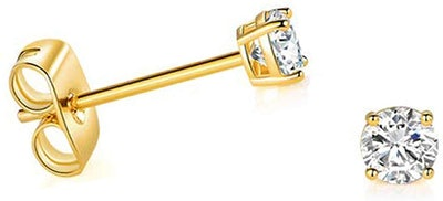 Art and Molly 14k Yellow Gold CZ Stud Earrings