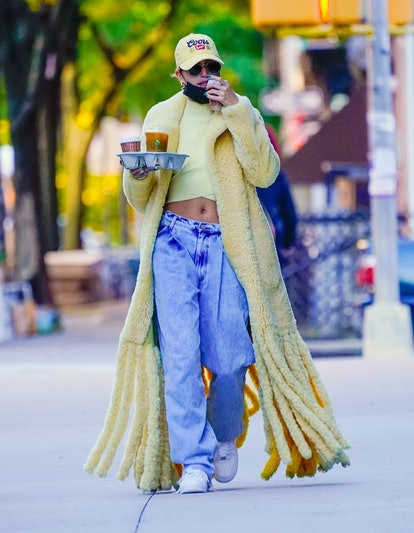 Hailey Bieber is seen going out for coffee on October 17, 2020 in New York City.