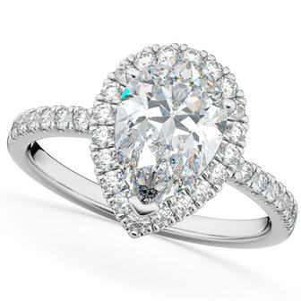 Pear Cut Halo Moissanite & Diamond  & Diamond Engagement Ring