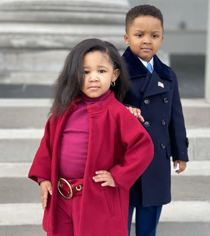 Ryleigh, 3, and her friend Zayden dressed up as the Obamas on Inauguration Day.