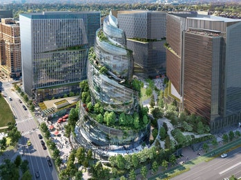 Amazon's planned Arlington, VA headquarters features a building dubbed the Helix, a spiral structure that features greenery and outdoor walkways.