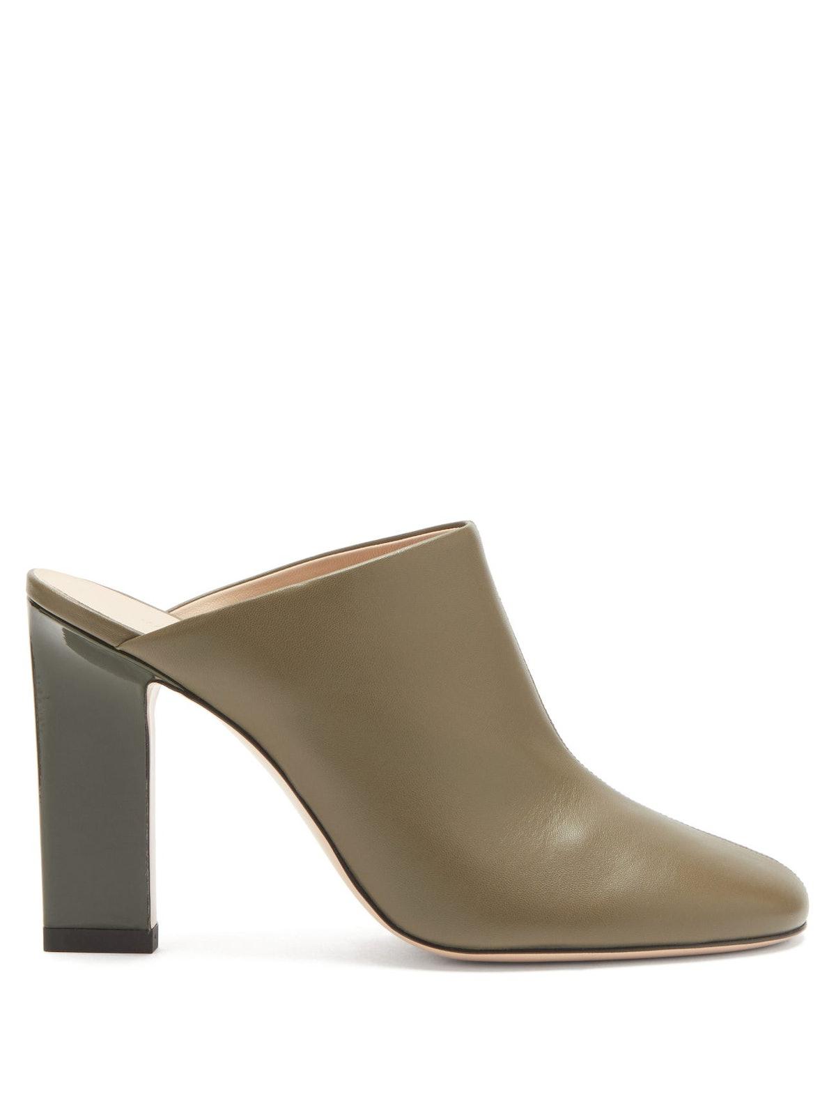 Casta Block-Heel Leather Mules