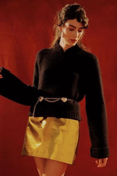 Black Mandarin Collar Cashmere Sweater