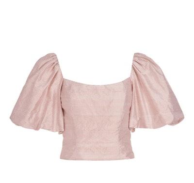 Myrtle Blush Gingham Silk Puff Sleeve Top