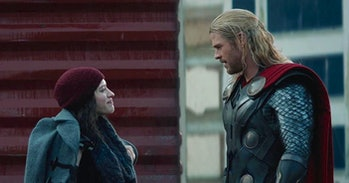 Kat Dennings and Chris Hemsworth in Thor: The Dark World