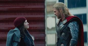 Kat Dennings and Chris Hemsworth in Thor: The Dark World