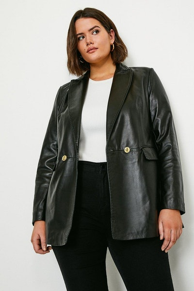 Curve Leather Fitted Double Breasted Jacket