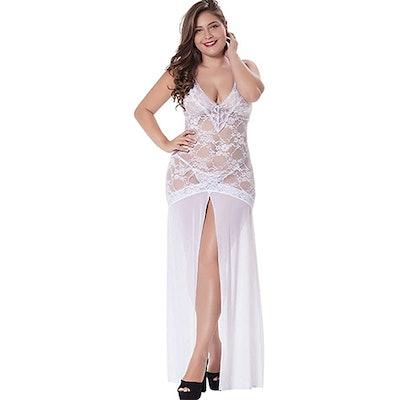 LINGERLOVE Sheer Lace Maxi Dress
