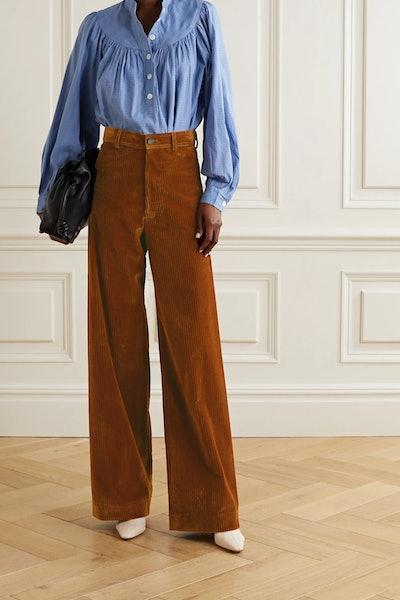 Polo Cotton-Blend Corduroy Wide-Leg Pants