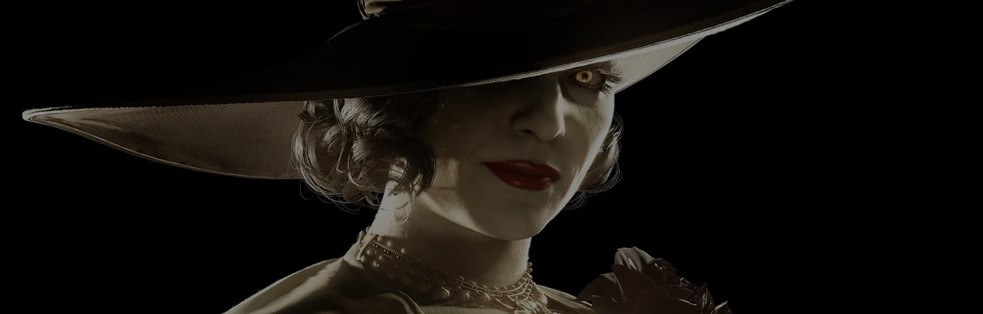 A tile layout of Resident Evil Village's Lady Dimitrescu, who is a female vampire in 1920s attire.