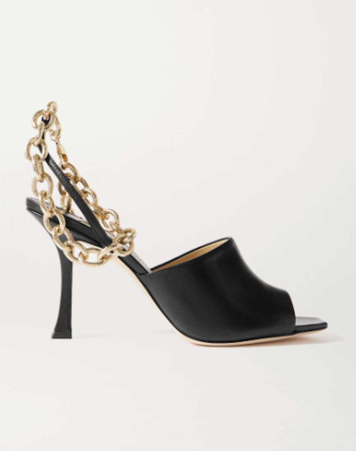 Sae 90 Chain-Embellished Leather Slingback Sandals