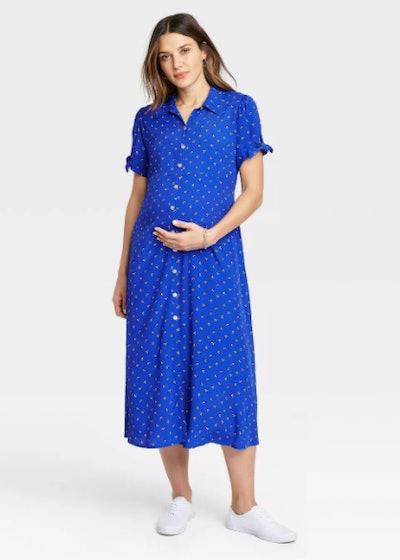 Floral Print Tie Short Sleeve Crepe Maternity Dress Blue