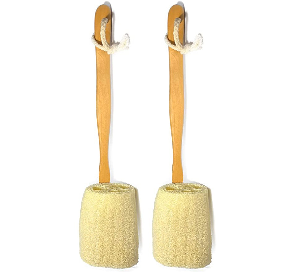 Natural Exfoliating Loofah Bath Brush On a Stick (2-Pack)