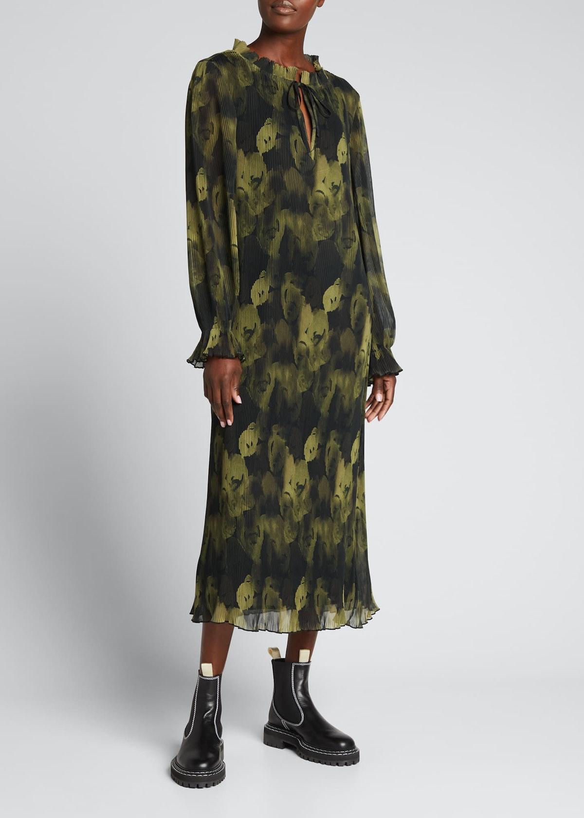 Pleated Georgette Midi Dress
