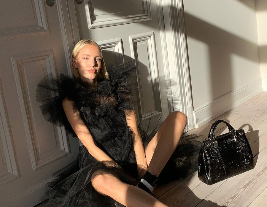 Leonie Hanne wearing Giambattista Valli from home.