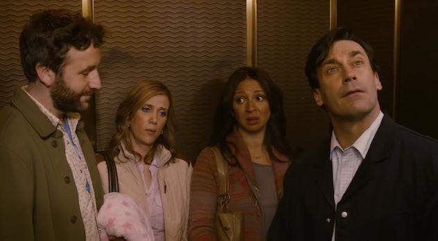 'Friends With Kids' starring Jon Hamm, Kristen Wiig, and Maya Rudolph is on Hulu.