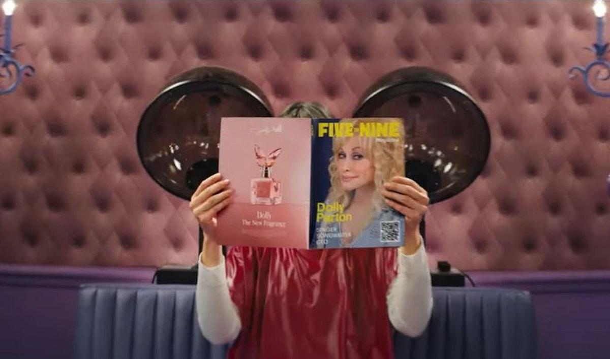 A screengrab of Dolly Parton's 5-9 Ad