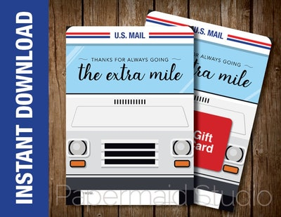 PRINTABLE Letter Carrier Thank You Card - Postal Worker Mail Person Gift Card Holder