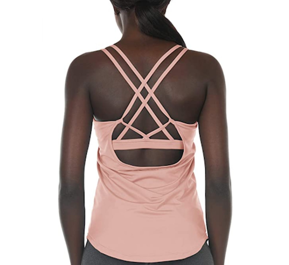 icyzone Workout Tank Top with Built-In Bra